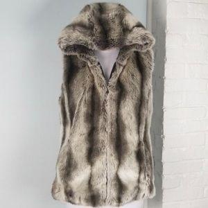 Kristen Blake Reversible grey faux fur vest